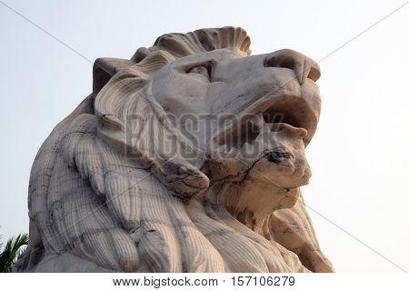 KOLKATA, INDIA - FEBRUARY 08: Antique Lion Statue at Victoria Memorial Gate, Kolkata, India, sculptured by Vincent Esch in Kolkata, West Bengal, India on February 08, 2016