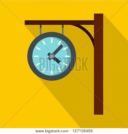 Station clock icon. Flat illustration of station clock vector icon for web design