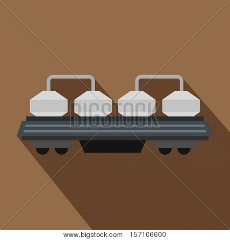 Rail wagon for construction materials icon. Flat illustration of rail wagon vector icon for web design