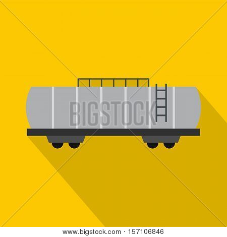 Oil railway tank icon. Flat illustration of railway tank vector icon for web design