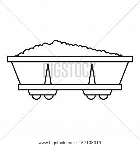Coal trolley icon. Outline illustration of coal trolley vector icon for web design
