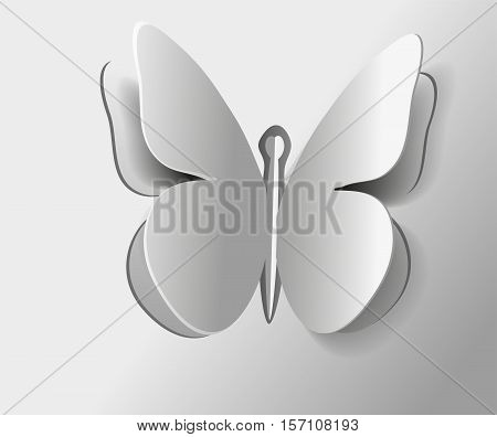 Black and white sketch of a large gray butterfly wings painted a minimum color monochrome background with insects