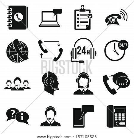 Call center symbols icons set. Simple illustration of 16 call center symbols vector icons for web