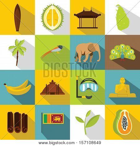 Sri Lanka travel icons set. Flat illustration of 16 Sri Lanka travel vector icons for web