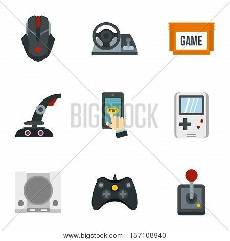 Game console icons set. Flat illustration of 9 game console vector icons for web
