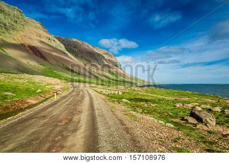 Mountain Road Near The Arctic Sea In Iceland