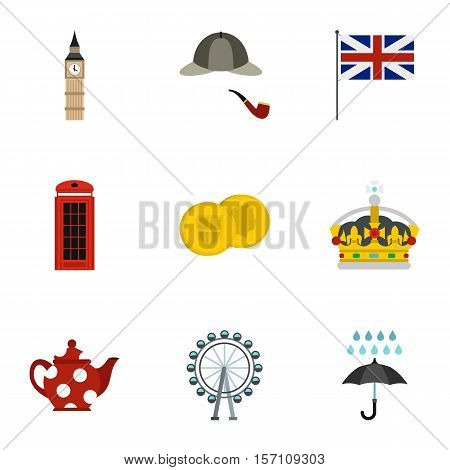 Attractions of United Kingdom icons set. Flat illustration of 9 attractions of United Kingdom vector icons for web