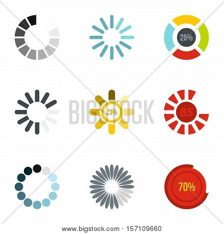 Download page icons set. Flat illustration of 9 download page vector icons for web