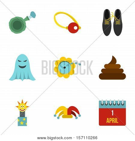 Joke icons set. Flat illustration of 9 joke vector icons for web