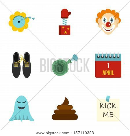 April fool day icons set. Flat illustration of 9 April fool day vector icons for web