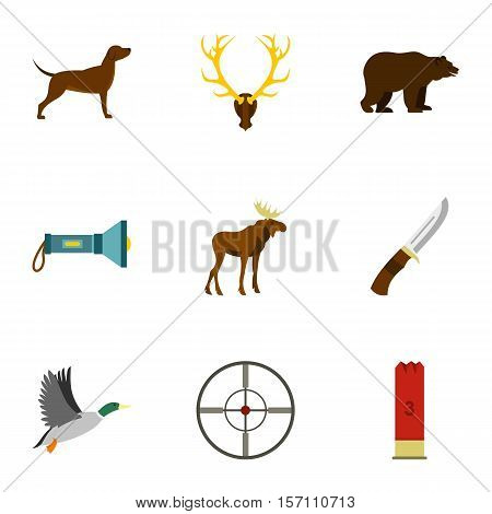 Hunting of animals icons set. Flat illustration of 9 hunting of animals vector icons for web