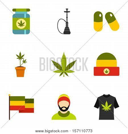 Marijuana icons set. Flat illustration of 9 marijuana vector icons for web