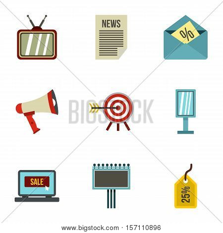 Contextual advertising icons set. Flat illustration of 9 contextual advertising vector icons for web
