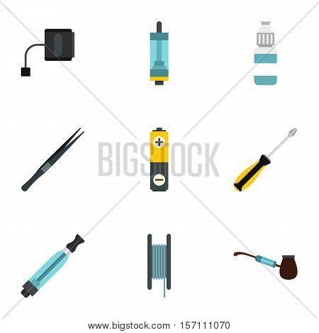 Electronic smoking cigarette icons set. Flat illustration of 9 electronic smoking cigarette vector icons for web