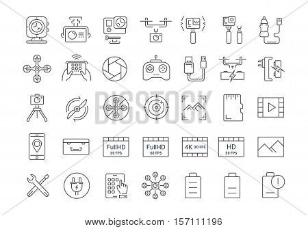 Set vector line icons action camera and drone in flat design with elements for mobile concepts and web apps. Collection modern infographic logo and pictogram.