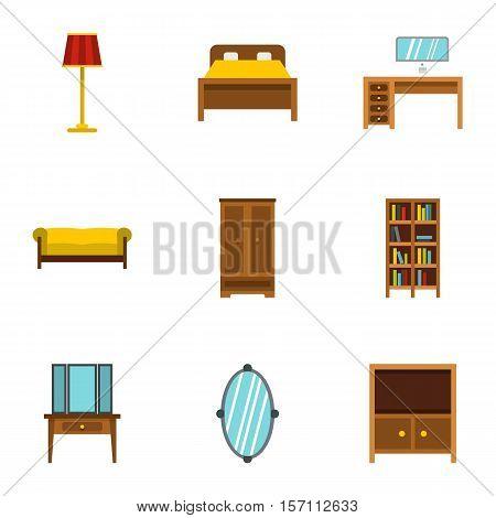Home furnishings icons set. Flat illustration of 9 home furnishings vector icons for web