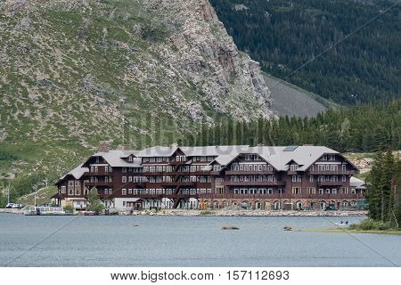 June 25th 2016: East Glacier Montana United States: Many Glacier Hotel Across Swiftcurrent Lake