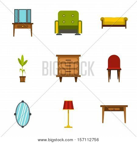 Home environment icons set. Flat illustration of 9 home environment vector icons for web