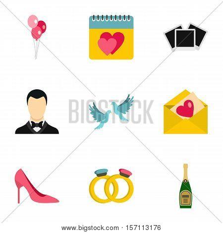 Marriage ceremony icons set. Flat illustration of 9 marriage ceremony vector icons for web