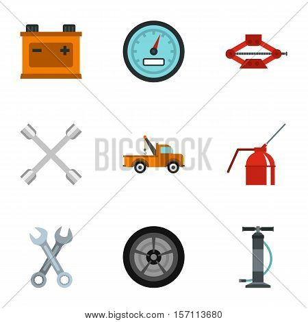 Garage icons set. Flat illustration of 9 garage vector icons for web