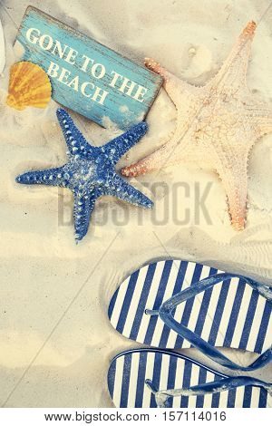 Gone to the Beach Summer Holiday Vacation Starfish Flip Flop Sandals Concept