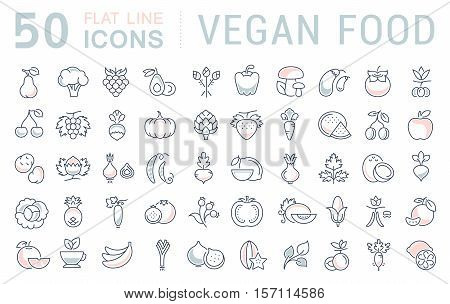 Set vector line icons in flat design Vegan Food and Veganism with elements for mobile concepts and web apps. Collection modern infographic logo and pictogram.