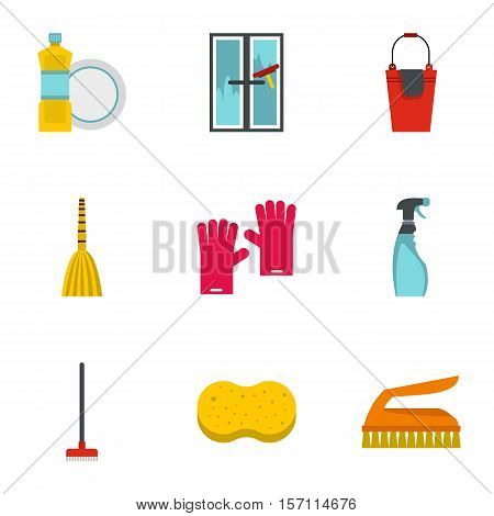 Sanitation icons set. Flat illustration of 9 sanitation vector icons for web