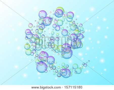 Spiral motion of many soap bubbles with rainbow colors. vector abstract illustration