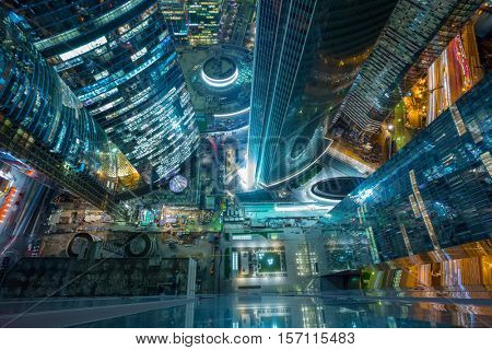 MOSCOW - OCT 8, 2015: Illuminated Moscow International Business Center at night. Years of construction of complex - 1995-2018