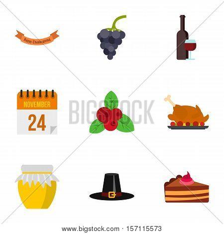 Thanksgiving feast icons set. Flat illustration of 9 thanksgiving feast vector icons for web