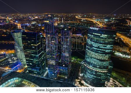 MOSCOW - MAY 21, 2015: Moscow International Business Center at dark night. Investments in Moscow International Business Center was approximately 12 billion dollars