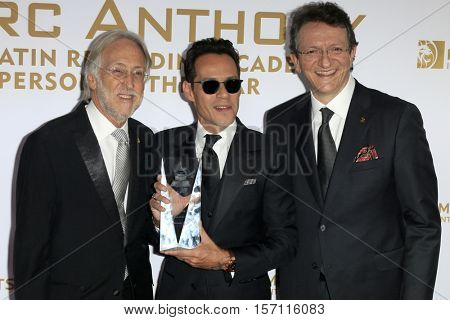 LAS VEGAS - NOV 16:  Neil Portnow, Marc Anthony, Gabriel Arbaroa at the 2016 Latin Recording Academy Person of the Year at MGM Grand Garden Arena on November 16, 2016 in Las Vegas, NV