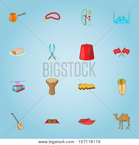 Turkey icons set. Cartoon illustration of 16 Turkey vector icons for web