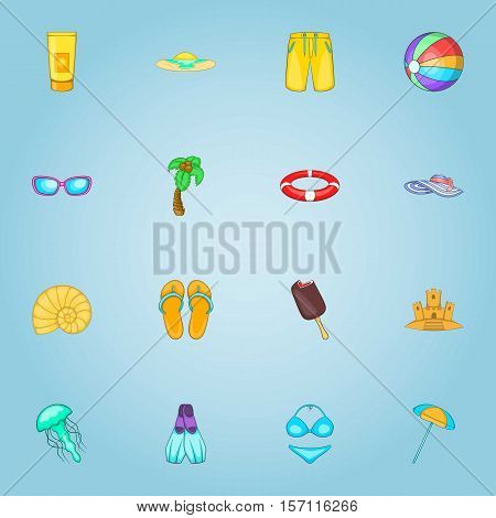 Rest on sea icons set. Cartoon illustration of 16 rest on sea vector icons for web