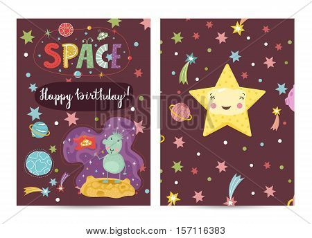 Happy birthday cartoon greeting card on space theme. Cute smiling star in cosmos, green friendly alien with flag, stars, planets and comets on brown background. Invitation on childrens costumed party