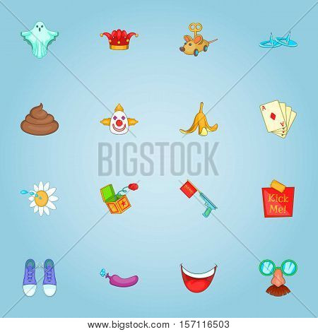 April fool day icons set. Cartoon illustration of 16 april fool day vector icons for web