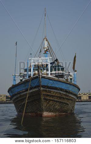 A fishing boat docked in Karachi, Sindh, Pakistan