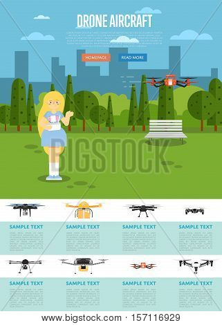 Drone aircraft website template with girl operating flying robot in park vector illustration. Remotely controlled multicopter. Unmanned aerial vehicle. Drone aircraft set. Modern flying device. poster