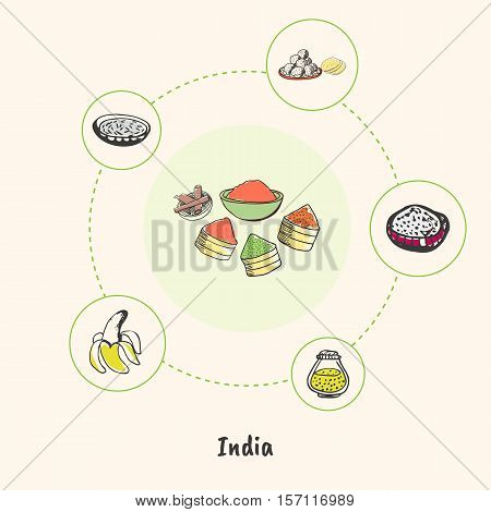 Attractive India. Plates and baskets with exotic spices colorized doodle surrounded banana, sweets, breed, hand drawn vector icons. Indian cultural, culinary symbols. Travel in Asia concept