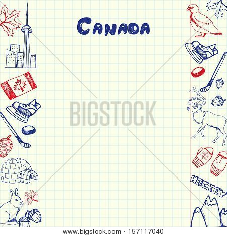 Canada national symbols. Canadian national, cultural, architectural, nature, sports, tourist related hand drawn doodles on sides of squared paper sheet with copy space vector. Pen sketched asian icons