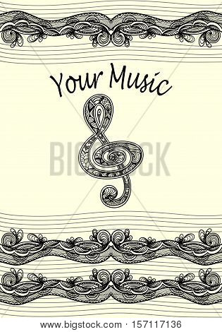 Treble clef  notes  musical stanza with Zen-tangle ornament style  black on white for coloring page or relax coloring book or  for decorate package clothes copybook or for web information about music