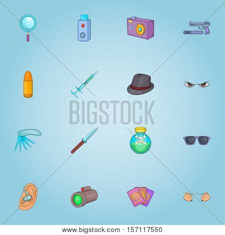 Spy icons set. Cartoon illustration of 16 spy vector icons for web