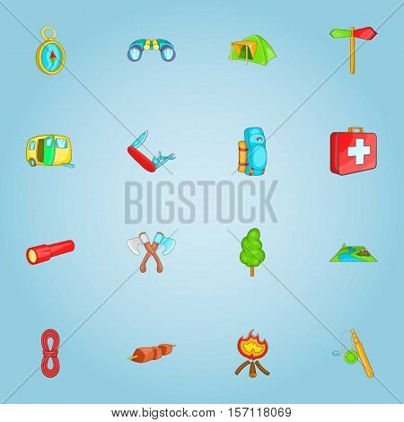 Camping icons set. Cartoon illustration of 16 camping vector icons for web