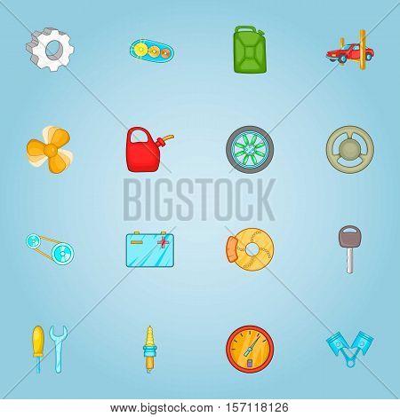 Repair machine icons set. Cartoon illustration of 16 repair machine vector icons for web