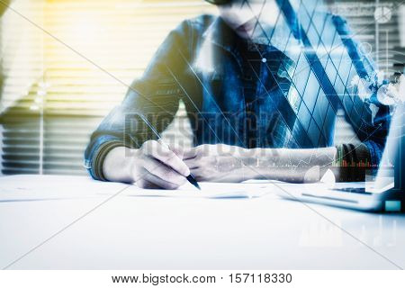 Double Exposure Of Business Woman Prepare And Writing For Documents And Graph Business Diagram, Film