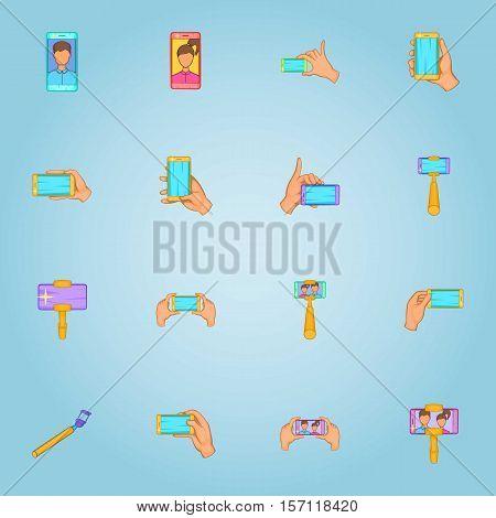Photo on selfie stick icons set. Cartoon illustration of 16 photo on selfie stick vector icons for web