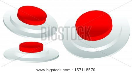 Set Of Red 3D Emergency, Termination, Stop Button Of Industrial Machine