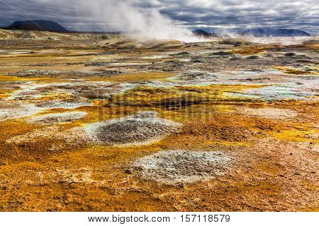Full Of Sulfur And Steam Namafjal Llandscape In Iceland