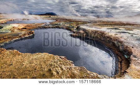 Full Of Sulfur And Steam Namafjall Terrain In Iceland