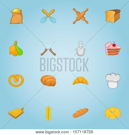 Patisserie icons set. Cartoon illustration of 16 patisserie vector icons for web